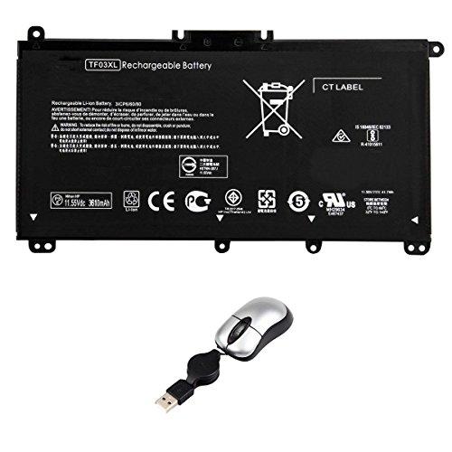 Amsahr TF03XL-05 - Batería de reemplazo para HP TF03XL, HP HSTNN-LB7X, HP TF03XL (Incluye Mini ratón óptico) Color Gris