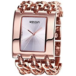 WEIQIN 2781 Simple Scale Square Dial Fashion Frauen weiblich Uhr Quarz mit Alloy Armband Band (Rose Gold + Silver)