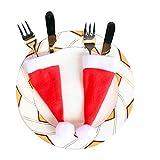 Prevently 10 Stück Weihnachten Tischdeko Weihnachtsmann Hut Bestecktasche Besteckbeutel Besteckhalter für Weihnachten Deko - 3