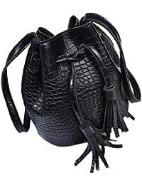 Sac à bandoulière, LHWY À la mode des femmes en cuir sac à main bandoulière Messenger glands seau épaule sac