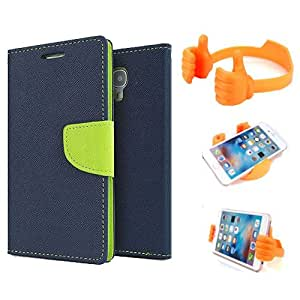 Aart Fancy Diary Card Wallet Flip Case Back Cover For Mircomax A116 - (Blue) + Flexible Portable Mount Cradle Thumb Ok Stand Holder By Aart store