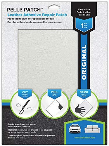 Pelle Patch - Pièce adhésive de réparation de Cuir et Vinyle - 25 Couleurs Disponibles - Original 20cm x 28cm - Blanc