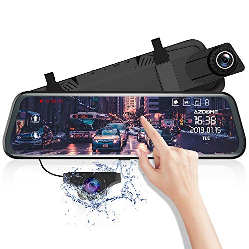 Specchietto Retrovisore Auto Dash Cam Streaming Media GPS Con Schemo da 10 pollici, Dual Lens Dash-Cam con risoluzione 1080P+720P, G-Sensor Registrazione in Loop Monitor di Parcheggio PG-02