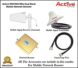 Active 900/1800 MHz Dual Band Mobile Signal Enhancer, Repeater, Booster, Amplifier 900/1800 MHz Dual Band GSM 2G (Both GSM900MHz and 1800MHz) Voice . Complete kit with Indoor, Outdoor Antenna, 2 Cable Sets(15 metres and 5 metres), 4 N type connectors.