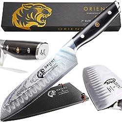 Couteau Santoku Orient 7 pouces 18cm acier japonais lame Damas AUS10 67 couches Couteau de chef avec emballage cadeau et fourreau, ultra aiguisé, les meilleurs couteaux de cuisine professionnelle