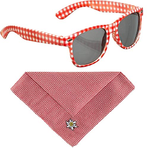 fashionandmemory Brille und Trachtentuch rot weiß kariert im Kostüm Set - Brille rot-weiß, Halstuch rot weiß, Bayern Party Volksmusik Schlager (rot)