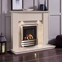 Cream Marble Stone Surround Gas Fireplace Suite Chrome Inset Fire & Downlights