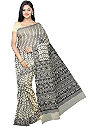 Pavecha's Gadwal Cotton Printed Saree - Beige::Black MK3538