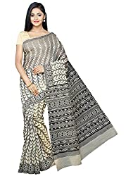 Pavechas Gadwal Cotton Printed Saree - Beige::Black MK3538