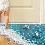 3D Beach Floor Wall Stickers Removable Mural Decals Vinyl Art Living Room Decors (Blue _beach)