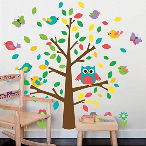 Mddjj Lovely Owlets Vögel Baum Wandaufkleber Kinderzimmer Dekoration Diy Kindergarten Cartoon Tier Wandbild Kunst Pvc-Abziehbilder Dekoration Kinderzimmer