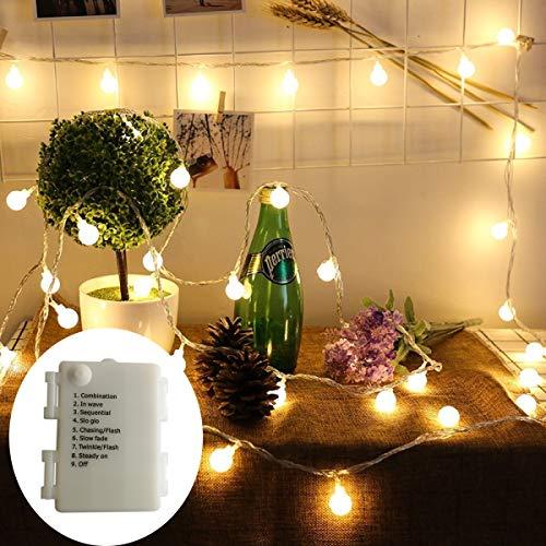 BXROIU 40er Klein Ball LED Lichterketten Batterie Betrieb und 8 Programm IP65 wasserdicht, für Party,Weihnachten, Halloween, Hochzeit, Beleuchtung Deko (Warmweiß)