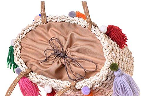 FAIRYSAN Damen Damen Stroh Schulter Handtaschen Bunte Quasten Sommer Urlaub Strand gewebt Tasche Einkaufstasche (beige) beige