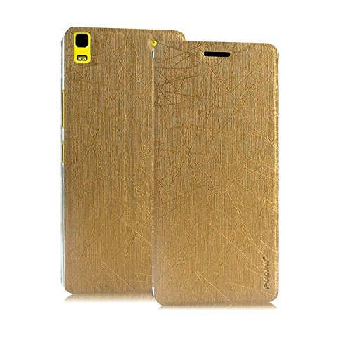 Pudini® Yusi Rain Series Leather Flip Cover Stand Case for Lenovo K3 Note / Lenovo A7000 - Champagne Gold  available at amazon for Rs.199