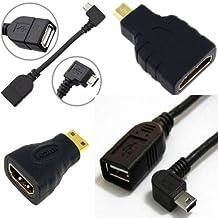 AFUNTA Adaptador androide de la tableta Cable Set-Curva Micro USB OTG; doblar al mini USB OTG; HDMI hembra a Micro HDMI macho; HDMI hembra a mini HDMI macho (Curva OTG + HDMI)