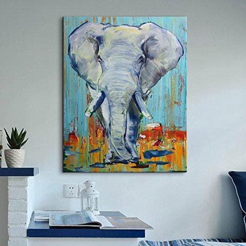 IPLST@ 100% dipinto a mano pittura a olio su tela, cartone animato animali Elefante astratta su tela pittura Stickers murali -24x36inch (Nessuna cornice, senza barella)