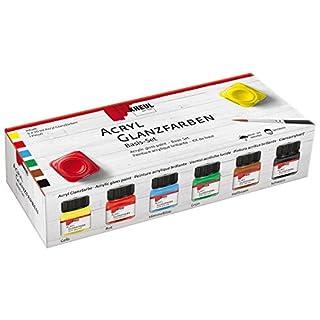 Kreul 79600 - Acryl Glanzfarbeset, zu Anmalen von Holzboxen, Holztabletts und kleinen Möbelstücken, deckende, schnelltrocknende Farbe auf Wasserbasis, 6 x 20 ml Farbe und ein Pinsel