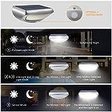 Solar Wandleuchte mit Bewegungsmelder, SGODDE 36 LED Wireless Wasserdichte Solarleuchten, 4 Modi Solar Aussenleuchte, 4400mAh Solar Gartenleuchten, Solarlampen mit 45° verstellbarer Halter Super Hell - 4