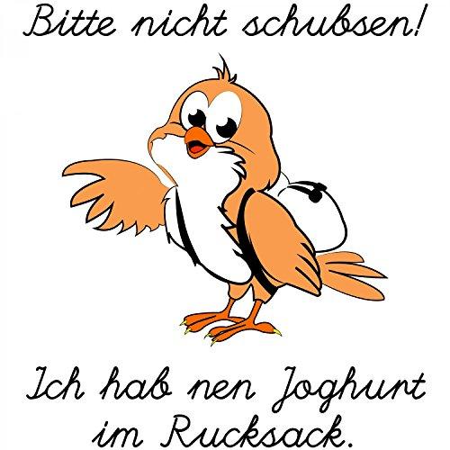 Bitte nicht schubsen! Ich hab nen Joghurt im Rucksack - Herren T-Shirt von Fashionalarm   Fun Shirt Spaß Spruch Vogel Vorsicht lustig Weiß