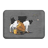 Sdltkhy Doormats Cows Milking Funny Pattern Entrance Indoor Outdoor Area Rug Bathroom Fleece Home Decor