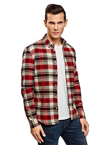 Oodji ultra uomo camicia a quadri dal taglio regolare, rosso, 42,5 сm/it 50-52 / l