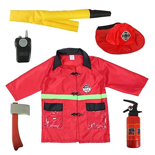 Womens Rot Kostüm Feuerwehrmann - TopTie Kind Feuerwehrmann Kostüme, Fire Chief Rolle Spielen Kostüm-Set