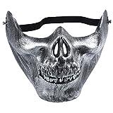 cosanter Totenkopf Skelett Maske Jagd Schützen Gear Hälfte Gesicht Halloween Maske für Cosplay Party 15X19cm silber