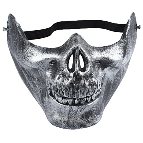 ruikey Totenkopf Skelett Maske Airsoft Jagd Schützen Half Face Mask CS Warrior Maske Cosplay Requisiten für Halloween, plastik, silber, 15*19*13cm
