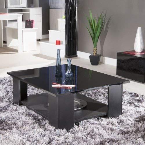 Symbiosis 2086A7612L00 Table Basse Bois Noire/Plateau/Laque 89 x 30,5 x 89 cm