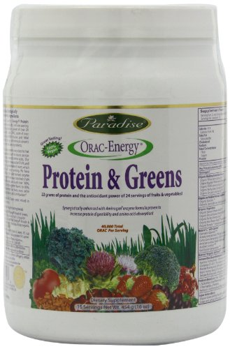 Paradise Herbs Protéine et Verts ( Protein and Greens ) - lb inc Spirulina, Luzerne, herbe de blé, Herbe d'orge, Protéine de Pois, Acai, Goji + Beaucoup Plus