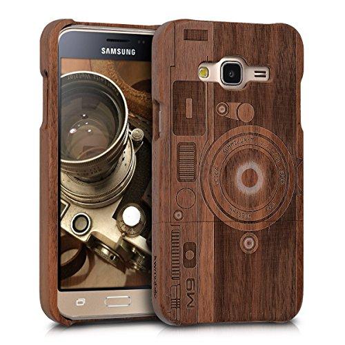kwmobile Samsung Galaxy J3 (2016) DUOS Hülle - Handy Schutzhülle aus Holz - Cover Case Handyhülle für Samsung Galaxy J3 (2016) DUOS
