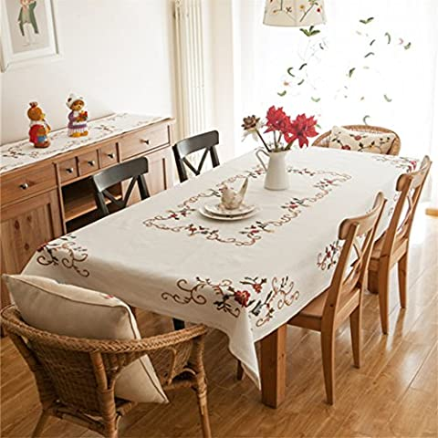 Eanshome spring white handmade embroidery flower dining tablecloths rectangular approx 84 x 59 inch