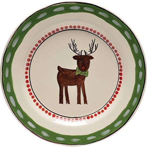 Thompson & Elm M. Bagwell Simply Christmas Reindeer Ceramic Salad Plate, Red/Green -