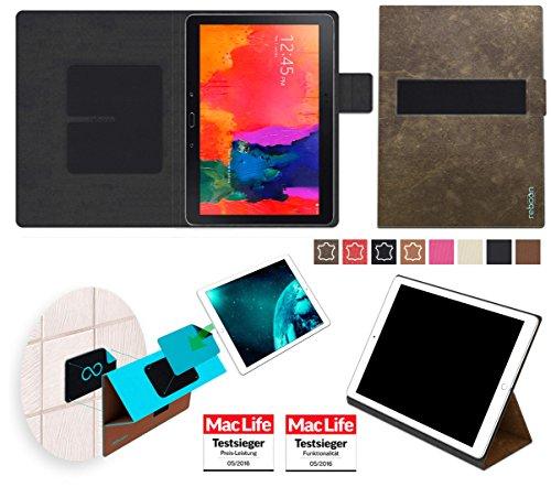 reboon Hülle für Samsung Galaxy TabPro 10.1 Tasche Cover Case Bumper | in Braun Wildleder | Testsieger