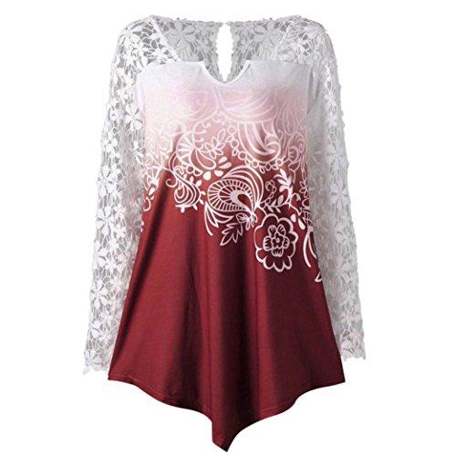 Lenfesh Damen Blumendruck Spitze Rundhals Asymmetrische Tunika Bluse Langarmshirt Oberteil Tops (L, Rot)