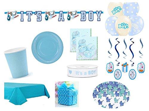 XXL Partyset Babyparty Junge blau 69teilig Pullerparty Baby Geburt