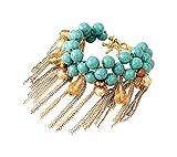#6: IGP Dangling Blue Stones Tassel Chain Charm Bracelet For Women And Girls