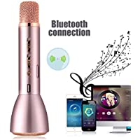 Wireless Bluetooth Microphone povumga Portable Handheld karaoke Speaker Player Record Cantando compatible with Android Smartphone Pad and Computer For Home/Party/Outdoor, rosa