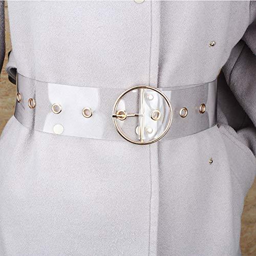 ADGJLI Lässige Transparente PVC-Gürtel Für Frauen Gold Farbe Metall Platz Kreis Schnalle Korsett Gürtel Sommer Dress Breit