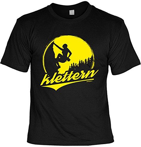 Outdoor/Kletter-T-Shirt Herren/Unisex schwarz mit trendy Motiv für den ambitionierten Naturliebhaber: Klettern Climbing