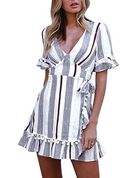 ALIKEEY Mujeres atractivas Manga acampanada a rayas en V a rayas de color Mini vestido de cintura alta Maxi vestido...