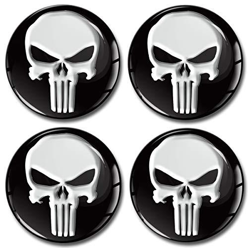 Skino 4 x 60mm Adesivi Resinati 3D Gel Stickers Auto Coprimozzi Logo Silicone Autoadesivo Stemma Adesivo Copricerchi Tappi Ruote Punisher Skull Teschio A 160