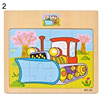 Uticon Jigsaw Puzzles Toy,Wooden Vehicle Car Animal Jigsaw Puzzles DIY Assembly Early Learning Kids Toy - Tortoise#