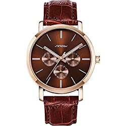 Sinobi Men Gold Fashion Classic Luxury Business Leather Strap Watches