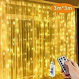 LED Lichtervorhang,Nasharia 300LEDs Lichterkette Vorhang Licht 3Mx3M IP65 Wasserfest 8 Leuchtmodi LED Lichterketten mit Fernbedienung für Weihnachten Party Hochzeit Garten Schlafzimmer Deko