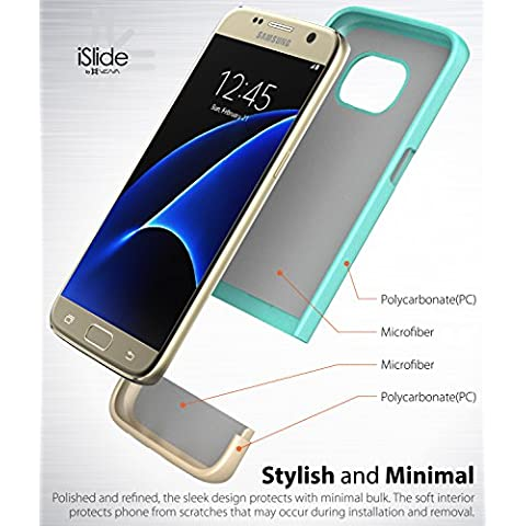 Samsung Galaxy S7 Funda, Vena [iSlide][Two- Tone] Ultra Ajuste Delgado del Estuche Rígido para Samsung Galaxy S7 (Verde Azul / Oro Champan)