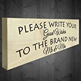 Red Ocean Please Write Your Good Wishes To The Brand New Mr & Mrs Wooden Freestanding Plaque Wedding Sign Table Decoration