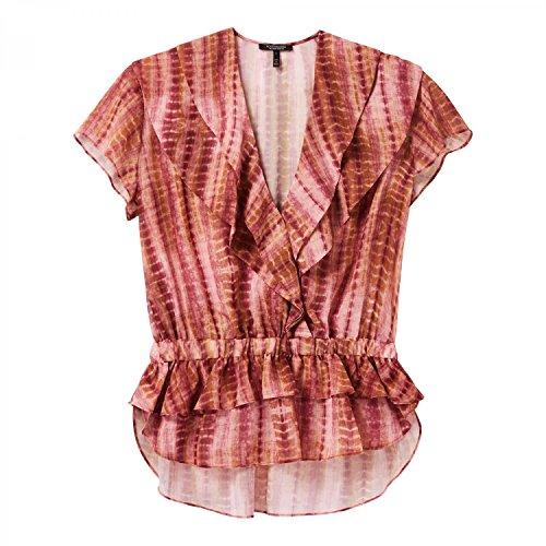Maison Scotch Damen Bluse Sheer Overlap Ruffle Top 143455 Combo T M - Sheer Ruffle Shirt
