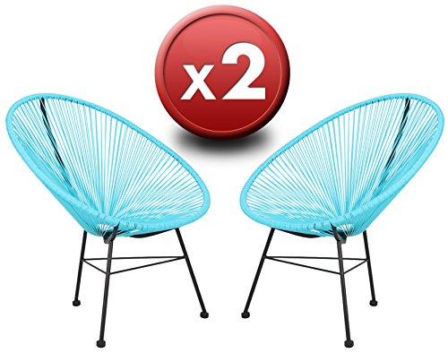 Pack 2 Sillones Acapulco Azules de Eurosilla. Silla de relax tanto interior como exterior. Calidad superior con sólida estructura de acero y asiento de cuerdas flexibles de vinilo trenzadas a mano.