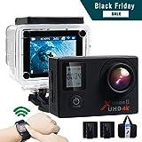 Campark® ACT76 Caméra Sport 4K/1080P WiFi Double Ecran 16MP Ultra HD Caméra d'Action Etanche 30M, 170 Degrée, Télécommande avec 2 Batterie et inclut des Kits Complets d'Accessoires
